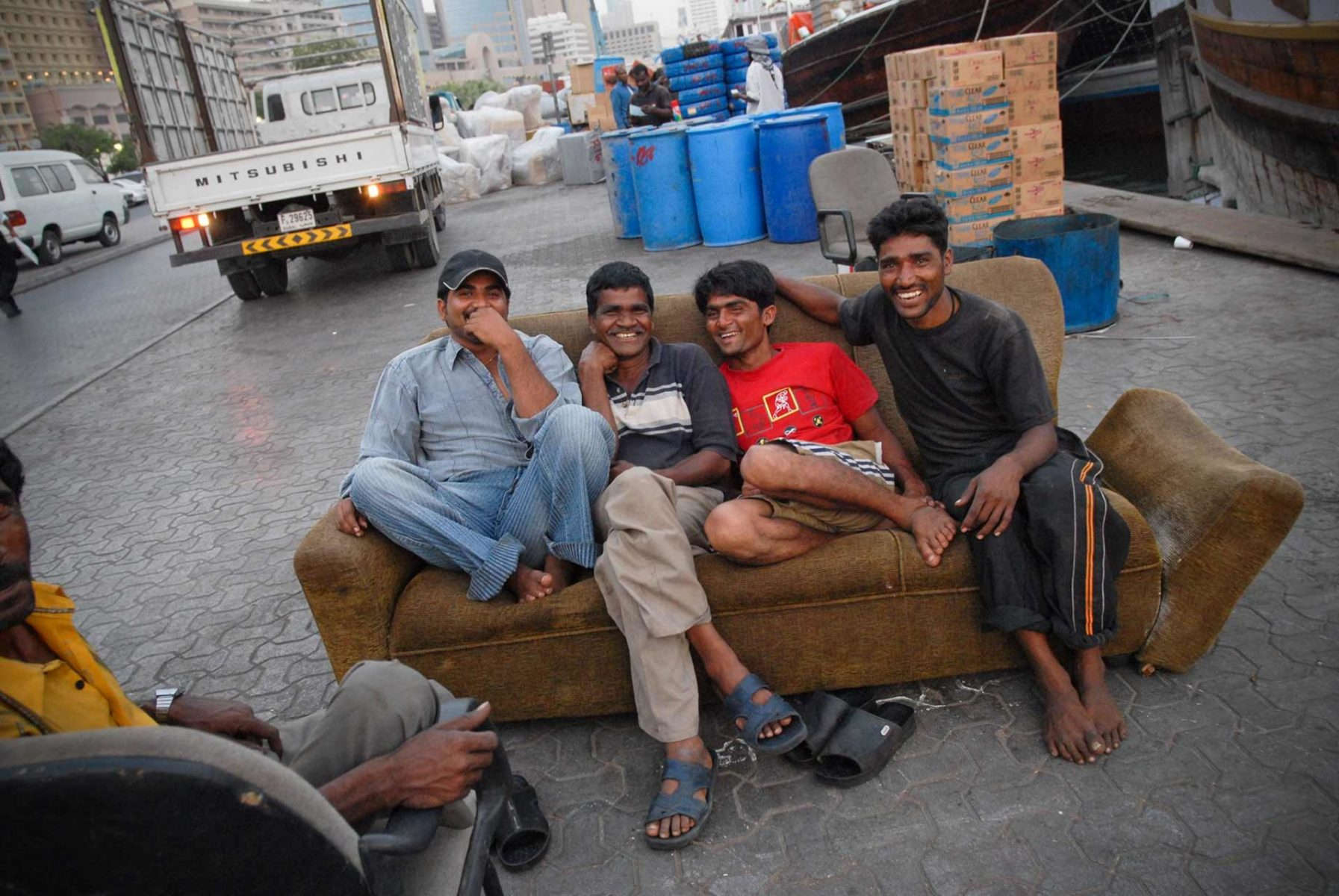 Workers taking a rest. United Arab Emirates.