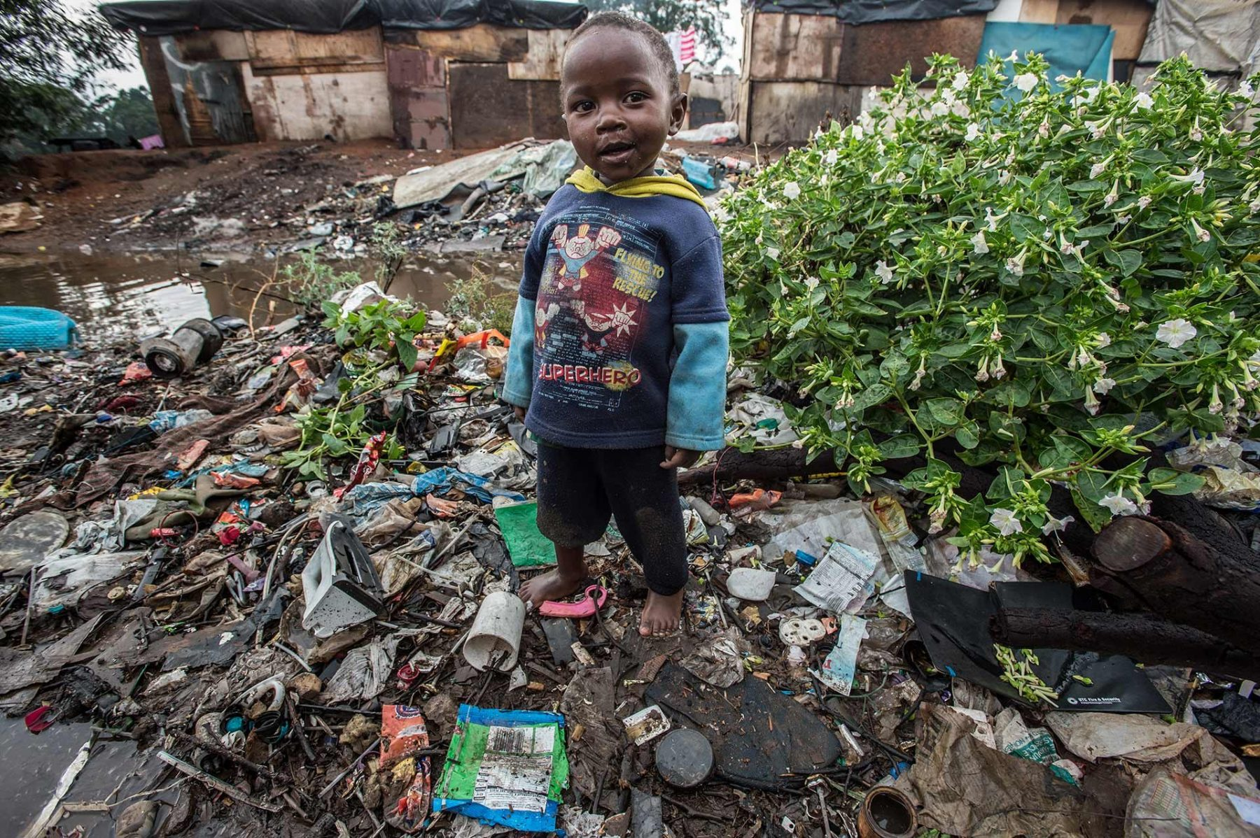 A young boy in his superhero shirt at the Randfontein municipal dumping site in Johannesburg. South Africa.
