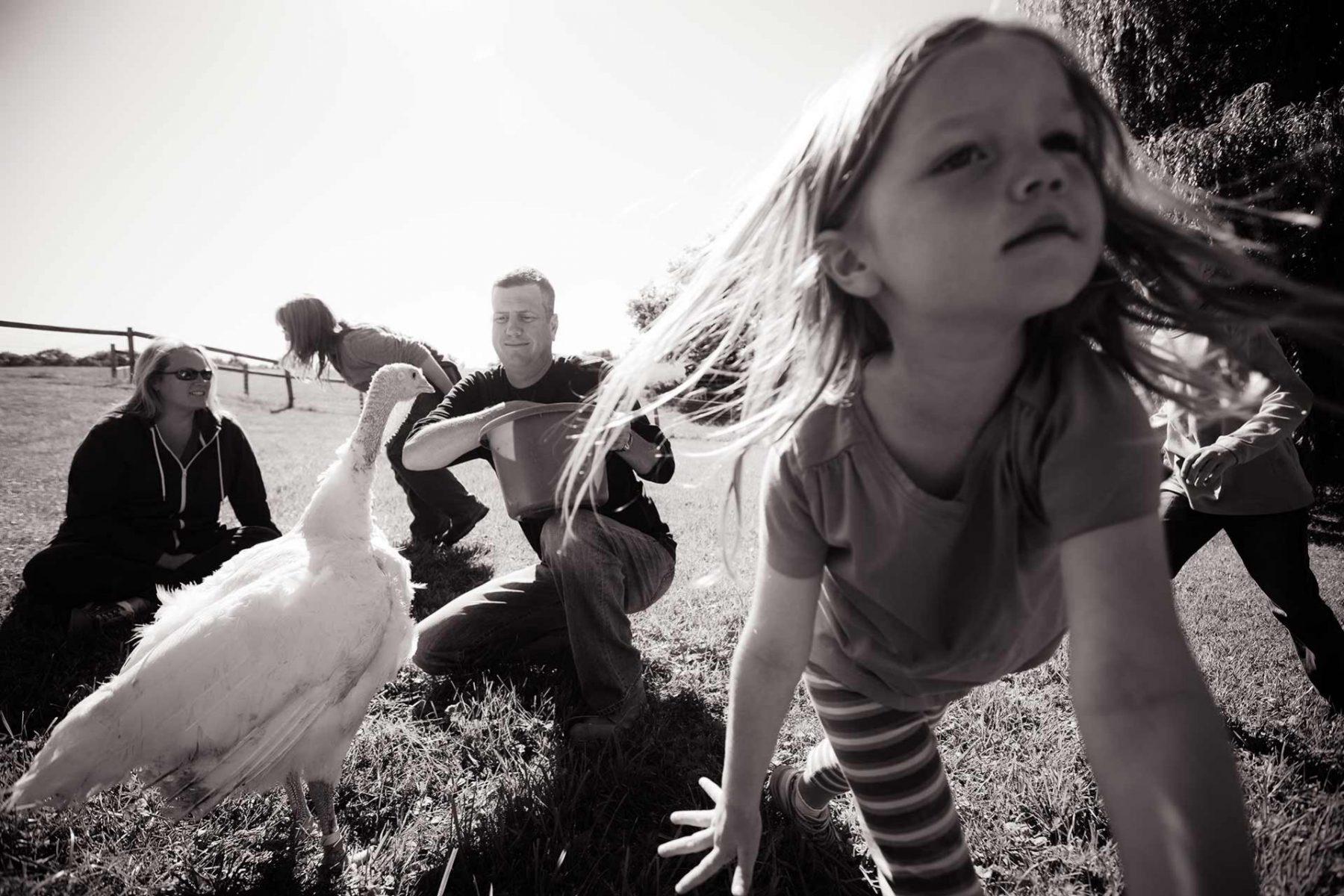 The Robinson family at Farm Sanctuary. USA