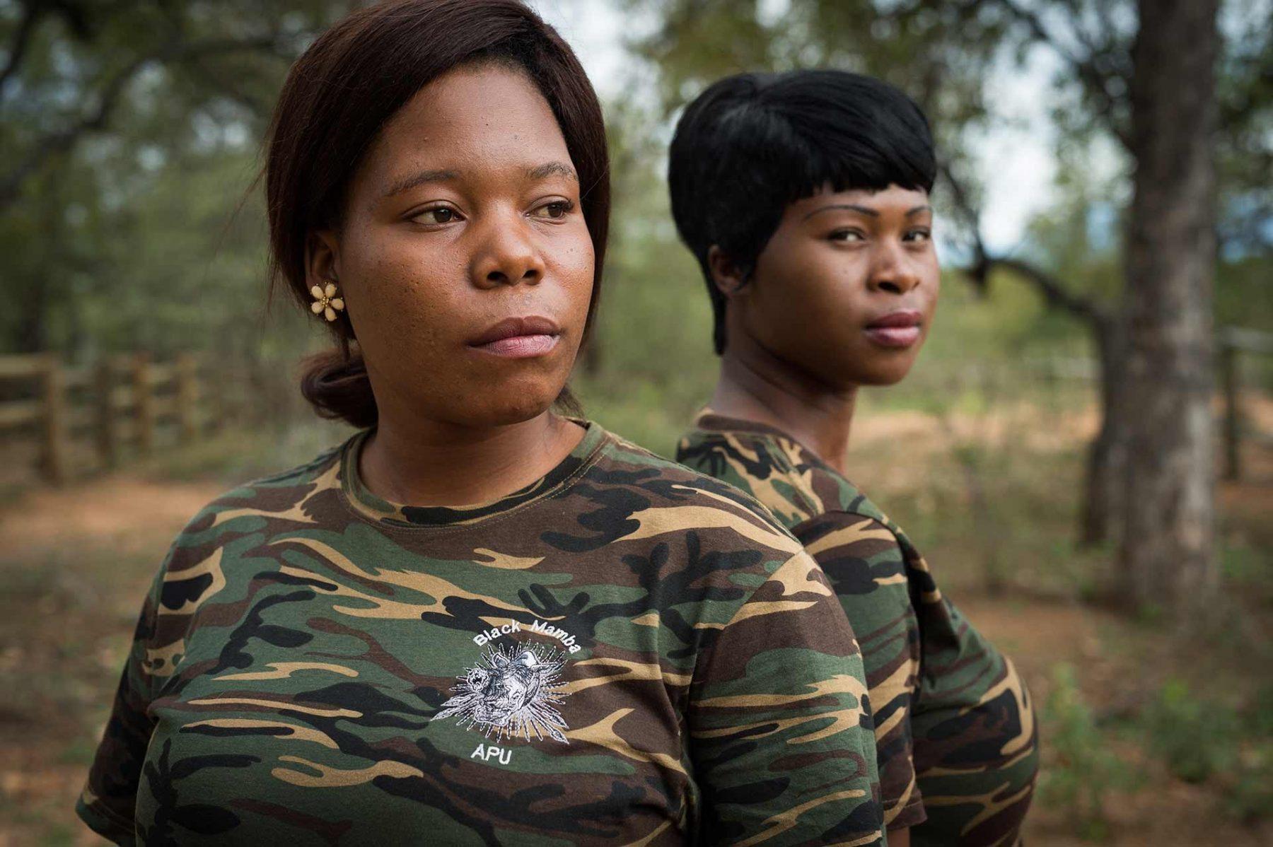 Yenzekile Mathebula and Leitah Mkhabela of the Black Mambas, an all-female anti-poaching unit. South Africa, 2016
