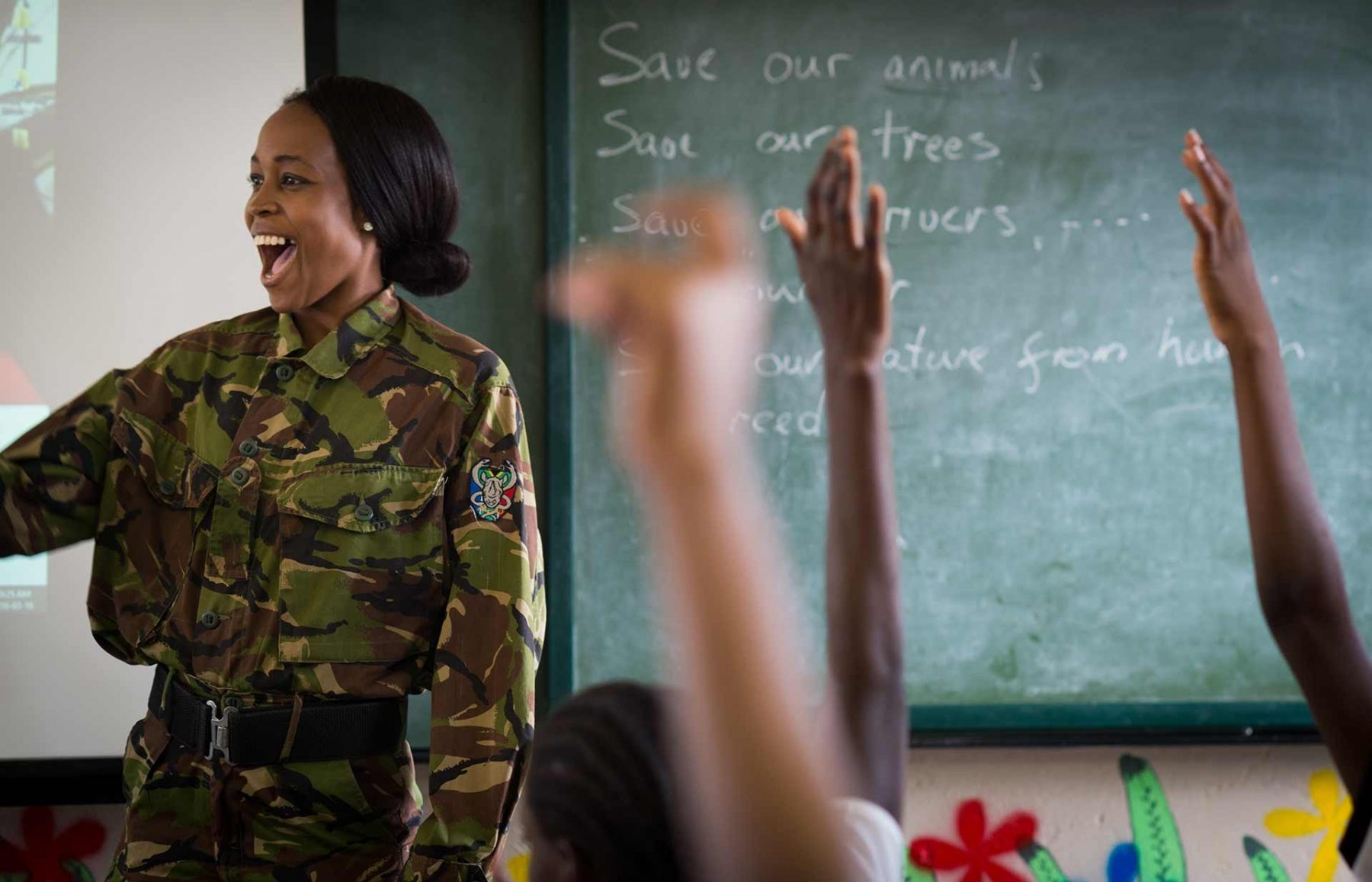 Siphiwe Sithole, one of the members of the all-female anti-poaching unit called The Black Mambas, at a school in South Africa. 2016
