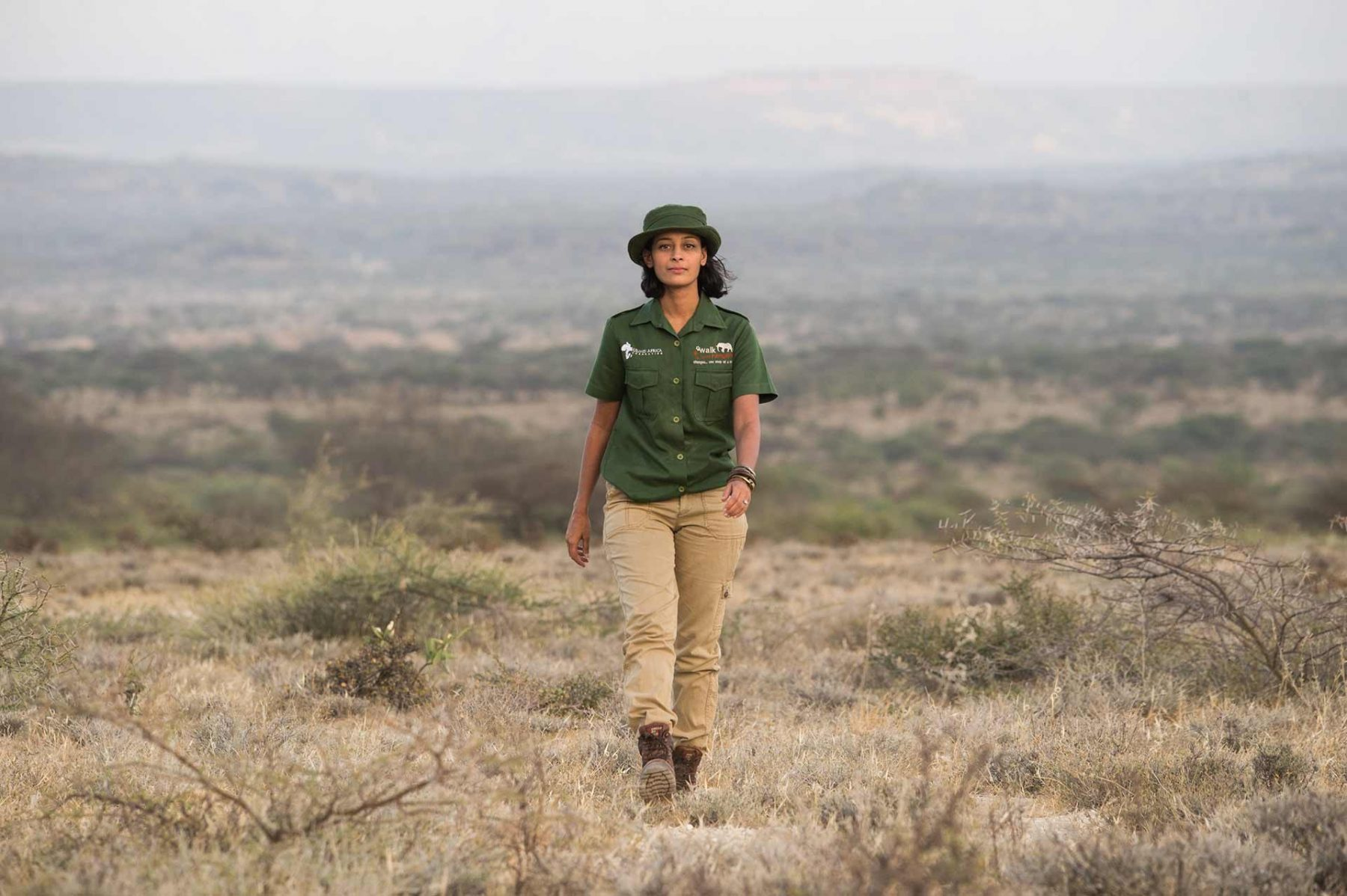 Raabia Hawa, founder of Walk with Rangers and the Ulinzi Africa Foundation. She is the first female Muslim honorary ranger with the Kenyan Wildlife Services. Kenya, 2016