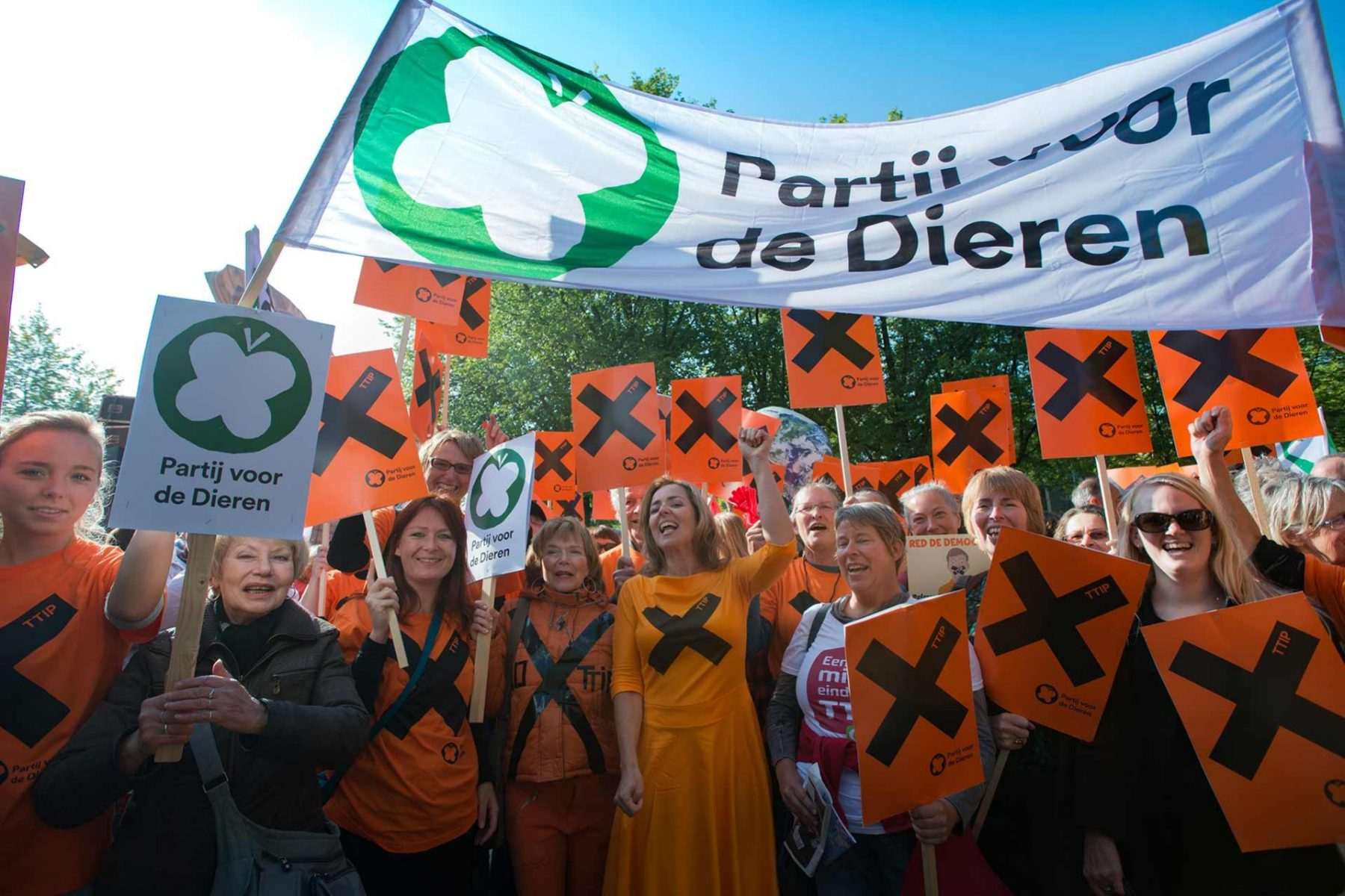 Animal advocate Marianne Thieme, founder of the political party, Parti voor de Dieren (Party for the Animals), at rally in Amsterdam. Netherlands, 2015