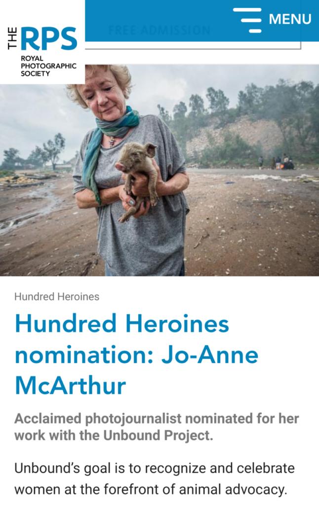 Royal Photographic Society - Hundred Heroines Nomination, 2018