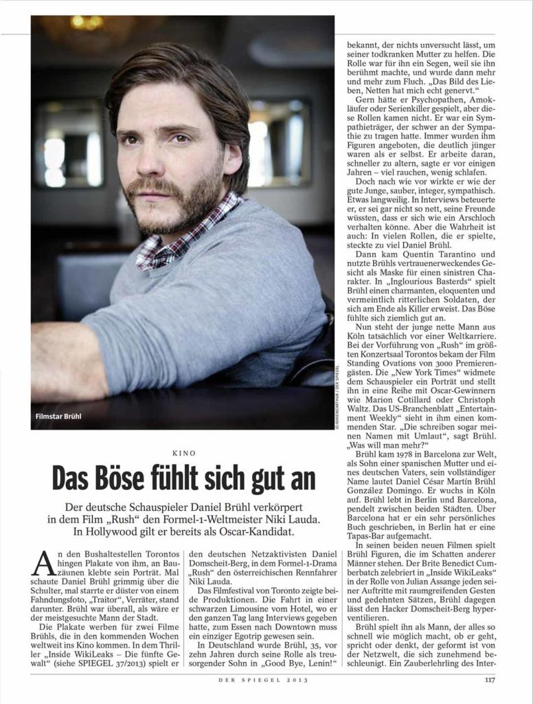 Daniel Bruhl, Der Spiegel